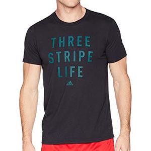 NWT Adidas Shirt Black Green THREE STRIPE LIFE